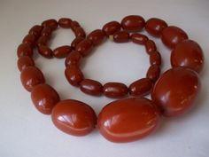 ART DECO CHERRY BAKELITE Bead Necklace/ Red Bakelite/ Red Amber Bakelite 1920's 30's Deco Beads
