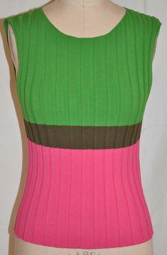 Issey Miyake pink and green sweater tank