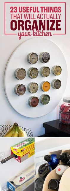 Cool kitchen ideas! 23 Useful Things That Will Actually Organize Your Kitchen. I  love organization hacks for the home.