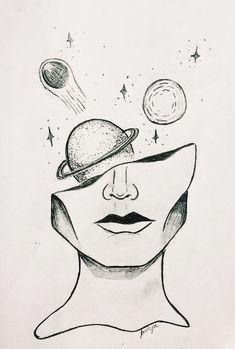 Al: Aliza👸🏼 ❥ - Bleistiftzeichnung - Art Sketches Space Drawings, Cool Art Drawings, Pencil Art Drawings, Art Drawings Sketches, Easy Drawings, Drawing Ideas, Tumblr Art Drawings, Sketch Art, Tumblr Sketches