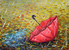 Осень не отпускает, поэтому продолжаю осеннюю тему.  В слякотную, дождливую погоду необходимой вещью является зонтик, вот его и предлагаю нарисовать. фото 1 Kids Painting Class, Fall Canvas Painting, Autumn Painting, Diy Canvas Art, Autumn Art, Diy Painting, Drawing Scenery, Umbrella Art, Acrylic Painting For Beginners