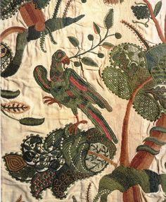 thisivyhouse: Crewel curtain c. 1696, England