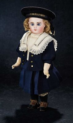 """Émile-Louis Jumeau (1843-1910) —  French Bisque Bebe in Antique Mariner's Costume and """"Normandie"""" Sailor Cap (564×957)"""