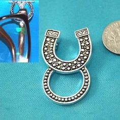 Western Horseshoe Horse Shoe Picture Badge ID Eye Glass Holder Brooch Pin