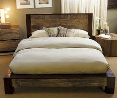 homemade bed! Love the old wood!