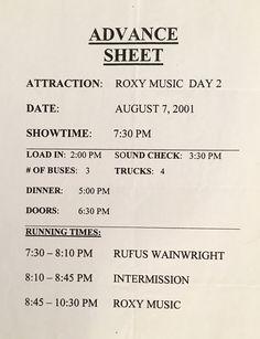 Roxy Music advance sheet 2001 l.A.