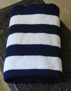 Striped Navy and white lap throw (diy)