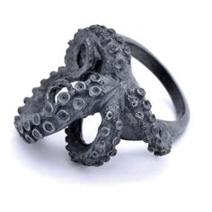 Black Silver Tentacles Ring