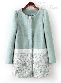 US$60.99 Delicate Split Joint Round Neckline Lace Floral Woolen Overcoat. #Overcoats #Joint #Lace #Split