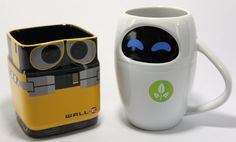 After helping all the obese people off their floaties, Wall-E and Eve are here to help with your morning coffee. The Wall-E and Eve mug set are the novelty ceramic mugs designed to look like miniature versions of the most lovable robots you've ever met. Wall E Eve, Disney Mugs, Disney Pixar, Disney Gift, Disney Coffee Mugs, Take My Money, Cool Mugs, My Funny Valentine, Valentines