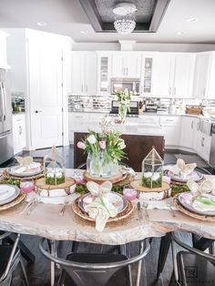 A very sweet and enchanting pink and green Easter Tablescape with layers of texture and pops of fresh flowers!