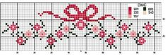 Border with simple floowers and bow - free cross stitch patterns crochet knitting amigurumi Cross Stitch Boarders, Cross Stitch Baby, Cross Stitch Flowers, Cross Stitch Charts, Cross Stitch Designs, Cross Stitching, Cross Stitch Embroidery, Embroidery Patterns, Cross Stitch Patterns