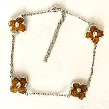Vintage silver tone chain with lobster clasp and orange color enamel ... Lot 691