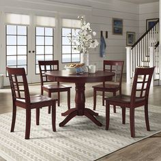 Wilmington II Round Pedestal Base Antique Berry Red 5-Piece Dining Set by iNSPIRE Q Classic (Window Back Chairs), Size 5-Piece Sets