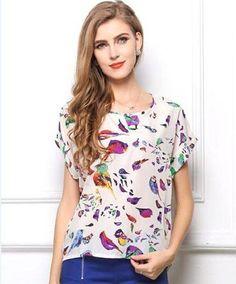 Pronta Entrega! Blusa em Seda Pássaros  Brinde= uma linda joia em prata , nas compras acima de R$200,00, na Leona Secrets!!