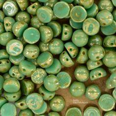 6mm Jade Picasso 2 Hole Cabochon - CzechMates 2 Hole Cabochon - 3854 - 6mm Czech Glass Two Hole Cabochon - 25 Beads