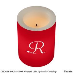 "CHOOSE YOUR COLOR Wrapped LED Candle with Monogram -  This Wrapped LED Candle is decorated with a large white monogram on a default cherry red background. A great gift for a wedding, commitment, housewarming, or for yourself. Festive color for holiday decor, or CHOOSE YOUR COLOR by clicking ""Customize"". All Rights Reserved © 2015 Alan & Marcia Socolik.."