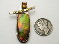 Ammolite sunstone and natural gold nuggets by DesignsbyShirl
