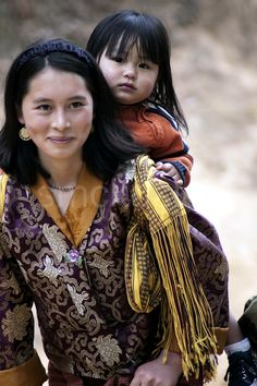 Bhutanese beautiful mother and her little girl
