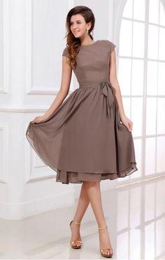 Grey Chiffon Mother of the Bride Dress LFNBA0013-Bridesmaid UK