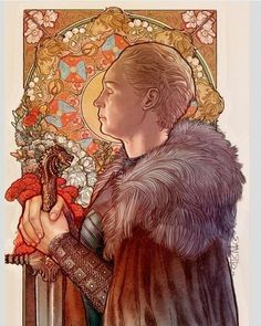 Another art nouveau piece, this time with Brienne. Always loved the mucha-side face pieces the most and wanted to try one for my AN studies. Removed Jamie's ghost hand from the sketch, it didn't work. Game Of Thrones Brienne, Arte Game Of Thrones, Brienne Of Tarth, Lady Brienne, Game Of Thrones Artwork, Jaime Lannister, Jaime And Brienne, Game Of Thrones Illustrations, Book Illustrations