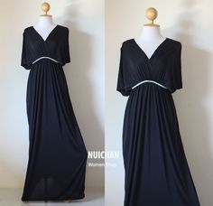 Long Kimono Tiered Black Tube Maxi Dress  Elegant by Nuichan, $55.00
