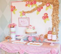 Pink Flower Baby Shower Dessert Table I like the idea of a foam backdrop decorated in fabric and covered with butterflies.