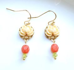Dangle Earrings - Cream Rose, Coral and Summer Green Beads - Gold Plated
