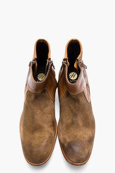 H BY HUDSON Brown leather and brushed suede Dalton boots #boots #menstyle #shoes #menswear #RMRS