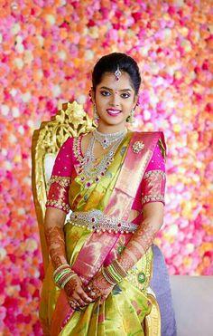 a bridal collection showcase having all the traditional south Indian pieces like Kasumala Diamond Waistbelt Pattu Saree Blouse Designs, Blouse Designs Silk, Bridal Blouse Designs, Bridal Silk Saree, Saree Wedding, Telugu Wedding, Wedding Bride, Wedding Dress, Bridal Jewellery Inspiration
