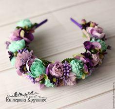 """Купить Ободок для волос """"Нимфа"""" - тёмно-фиолетовый, ободок для волос, ободок с цветами, ободок для девочки"""