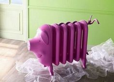 Painting old heaters and cast iron radiators are one of modern interior decorating ideas and a stylish way to add retro accents to room design. Painting old heaters and cast iron radiators refreshes h This Little Piggy, Little Pigs, Radiator Heater, Tout Rose, Piggly Wiggly, Cast Iron Radiators, Flying Pig, Cute Pigs, Cool Gadgets