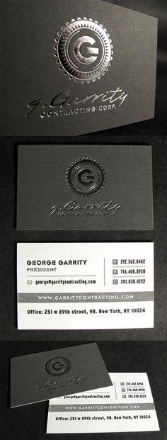 Distinctive Silver Foil On Black Letterpress Business Card Design
