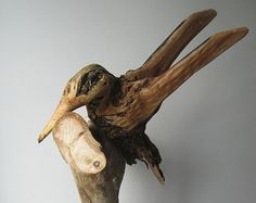 Kingfisher Wood Carving Hand Carved Bird Sculpture by BerlinGlass