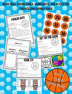 Basketball themed worksheets, games, and activities for building number sense for 1-120.
