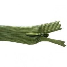 Fermeture invisible -  20-23 cm - vert militaire -  non séparable