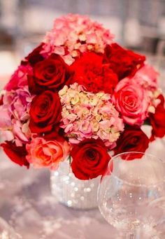 red and pink reception wedding flowers,  wedding decor, wedding flower centerpiece, wedding flower arrangement, add pic source on comment and we will update it. www.myfloweraffair.com can create this beautiful wedding flower look.