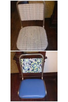 This is the chair I recovrd before and after. Pretty amazing!