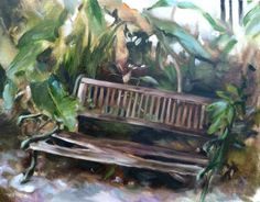 """The Garden Bench"", Original Painting Size: 16"" x 20"", Materials: Oil on canvas  Painted from direct observation on location: Bay Shore Rd, Sarasota, FL"