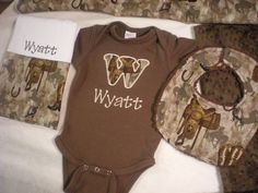 Items similar to Baby Boy Gift Set - Personalized Brown Onesie and Burp Cloth With Matching Dribble Bib on Etsy Baby Boy Name List, Baby Boy Gifts, Gifts For Boys, Baby Boys, Camo Baby Stuff, Bronn, Baby Kids Clothes, Baby Time, Baby Fever