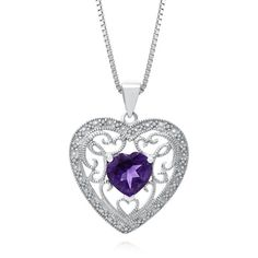 Heart-Shaped Amethyst Filigree Pendant with Diamond Accents in Sterling Silver