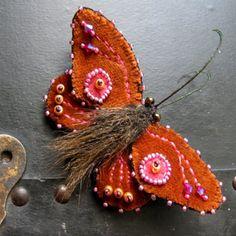 Small Rust Velvet Moth Brooch by ratsliveonnoevilstar on Etsy
