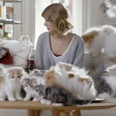 Taylor Swift with cats