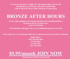 Are you an early bird or a night owl? This membership is just for you! Introducing our new Bronze After Hours membership. After Hours, Beauty Spa, Fun Workouts, Just For You, Bronze, Weight Loss, Gym, Events, Fitness