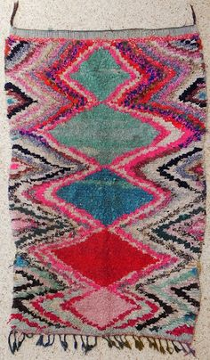 love this pattern & the colors .. Boucherouite Rug 3#2 - 7 x 4.5