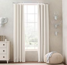 RH baby&child's Linen-Cotton Drapery Panel:Lightweight linen drapery is woven with cotton for durability, and is both polished and casual in style.