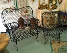 Black French Wire Bench  $495  Matching Chair  $245  Country Garden Antiques 147 Parkhouse  Dallas, TX 75207  Read our blog: http://countrygardenantique.blogspot.com/  Like us on Facebook: