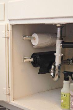 kitchen cabinet organization trash bag roll