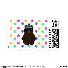 Happy Birthday! Bear with Hat & Balloons Pattern