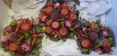 Natural stem bridal bouquet of Banksia, Silvan Reds, Hypericum Berry, Gum, Curled Magnolia leaves Magnolia Leaves, Strawberry, Bouquet, Album, Bridal, Fruit, Natural, Red, Bride